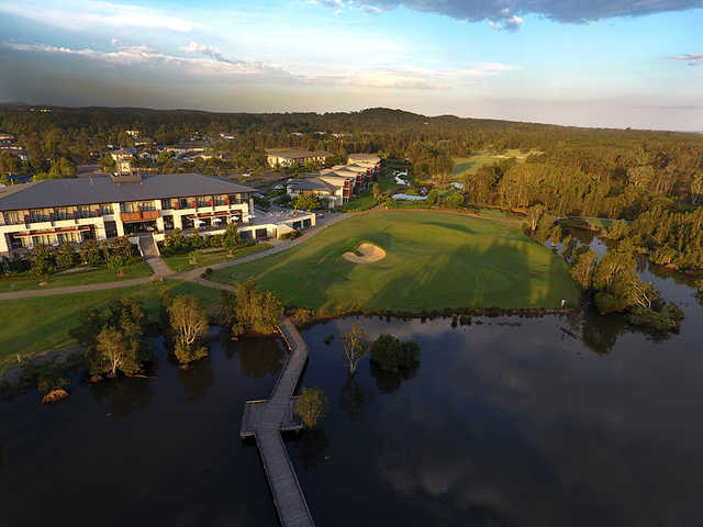 Aerial view of the clubhouse from Kooindah Waters Golf Club