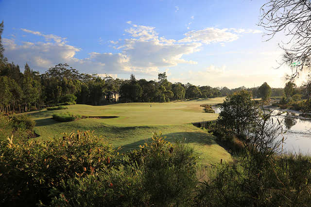 Looking back from the 15th green at Kooindah Waters Golf Club