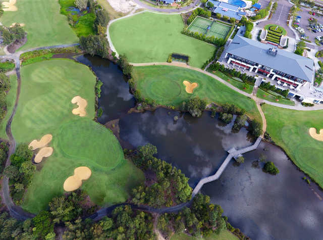 Aerial view of the 18th hole at Kooindah Waters Golf Club