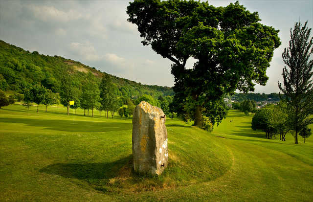 View of the old gate and a green at St. Melyd Golf Club