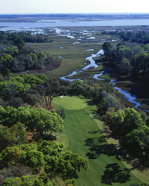 Aerial view of the 16th green at The Palencia Club.