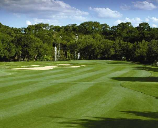 A view of the 18th fairway at Canyon Springs Golf Club