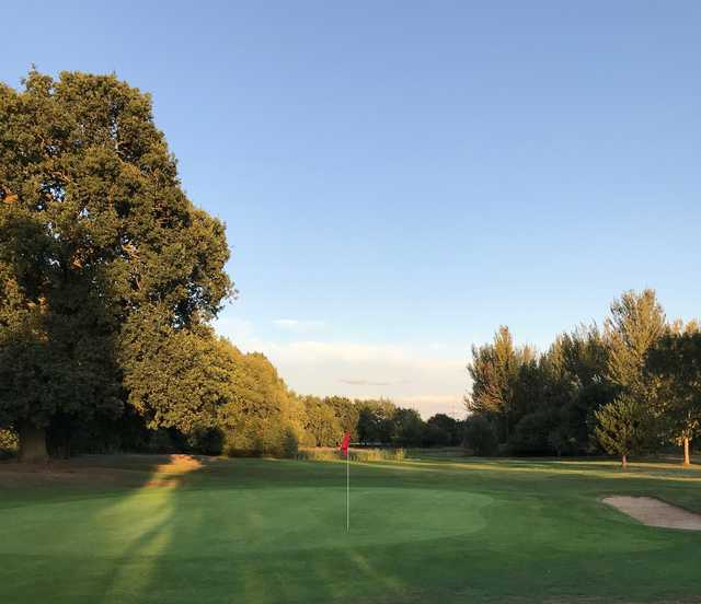 Looking back from a green at Theale Golf Club