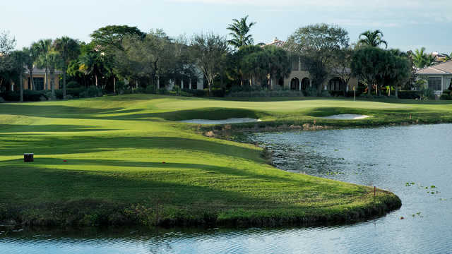 A view of a tee at Parkland Golf Club.
