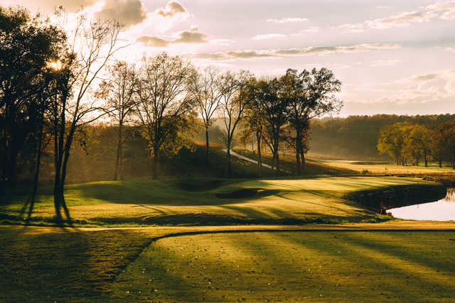 A fall day view of a green at Tennessee National Golf Club.