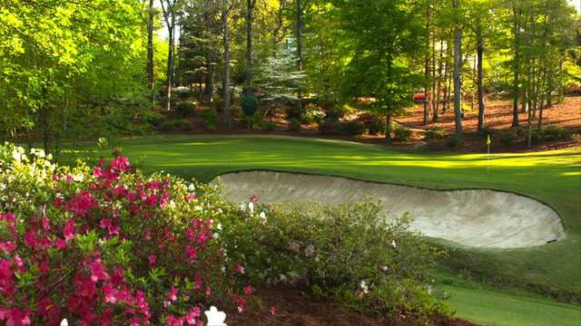 A view of a hole at Dancing Rabbit Golf Club.