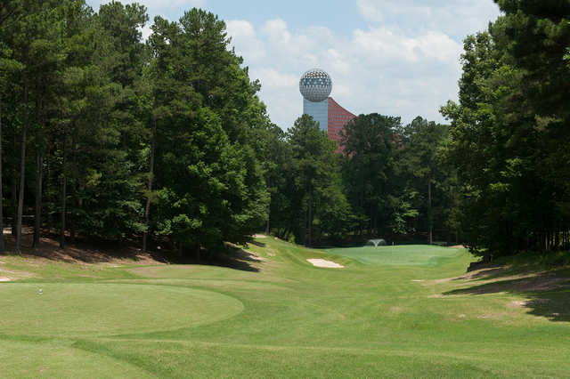 A sunny day view from a tee at Dancing Rabbit Golf Club.