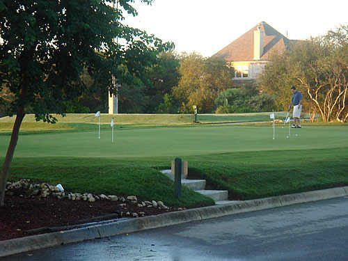 A view of the putting green at Olympia Hills Golf Course