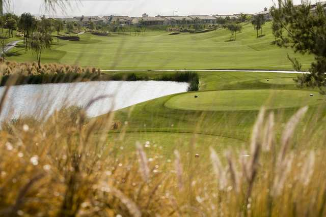 A view of a  tee at Shadow Hills Golf Club.