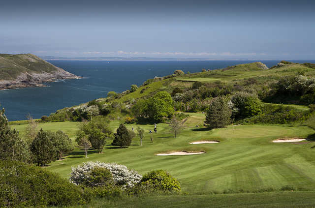 A view of hole #1, #5 and #16 at Langland Bay Golf Club.