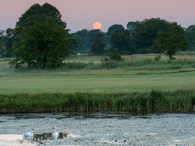 Moonset over the 7th green at Galgorm Castle Golf Club