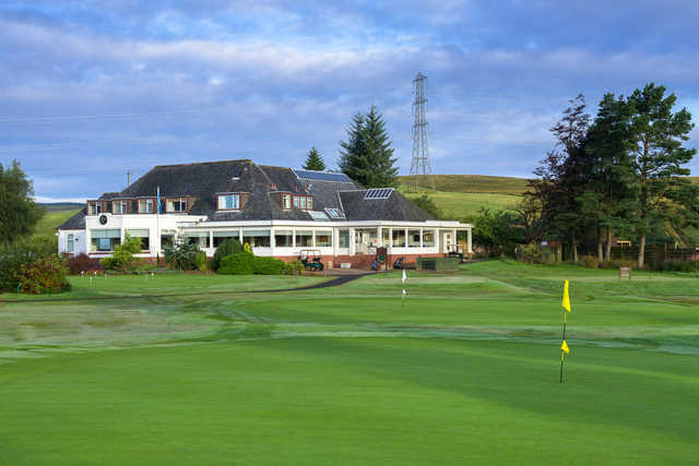 A view of the clubhouse and two holes at Hilton Park Golf Club.