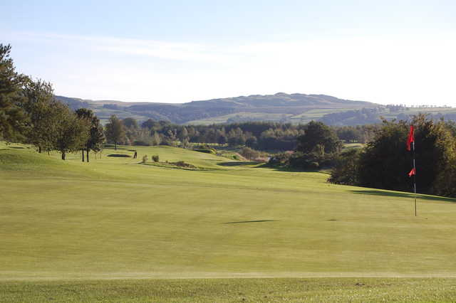 A view of the 18th hole at Lochmaben Golf Club.