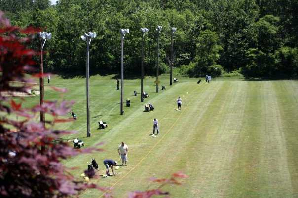A view of the driving range tees at Bridgeview Golf Course