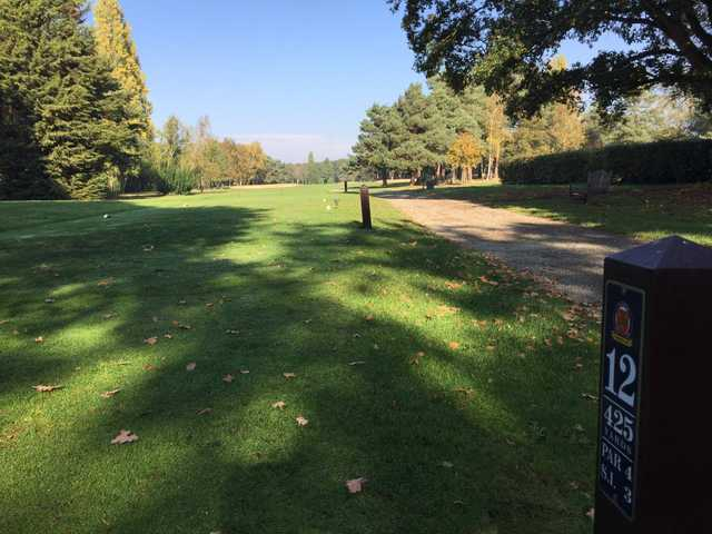A view from tee #12 sign at Colchester Golf Club.