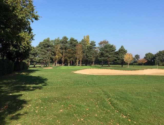 A fall day view of a hole at Colchester Golf Club.