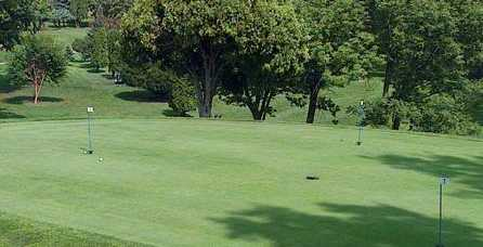 A view of the putting green at Bridgeview Golf Course