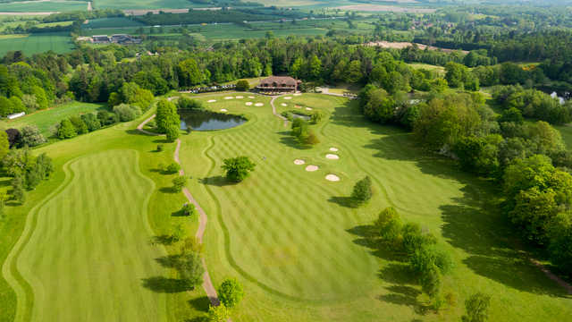 Aerial view of the 18th and 9th holes at Westerham Golf Club