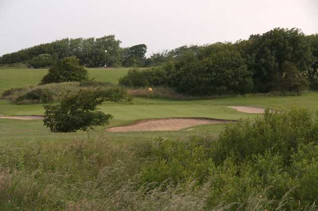A view of a well protected hole at Knott End Golf Club.