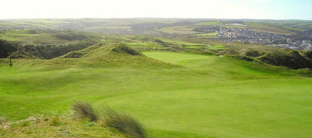 A view of a hole at Perranporth Golf Club.