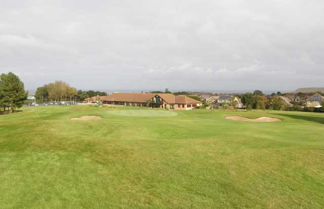 A view of the clubhouse and a green at Saltburn-by-the-Sea Golf Club.