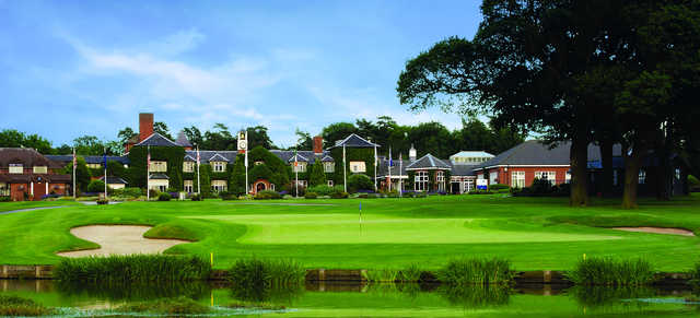 View of the 18th hole and clubhouse at Belfry Golf Club - The Brabazon Course