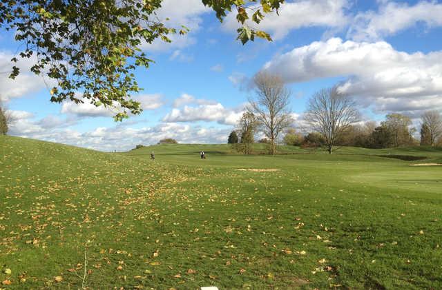 A fall day view of a fairway at Barnehurst Golf Club.