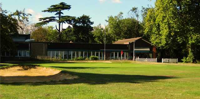 A view of the clubhouse and a green at Barnehurst Golf Club.