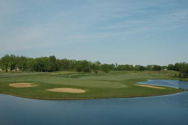 A view of hole #15 surrounded by water at Cumberland Trail Golf Course