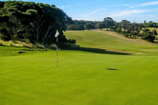 A view of a hole at Portsea Golf Club.