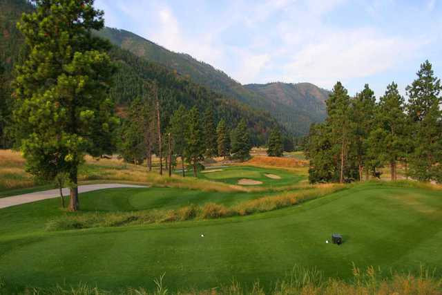A view of a tee at Canyon River Golf Club.