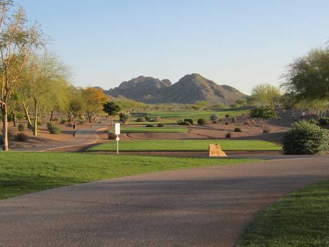 A view of tee #10 at Copper Canyon Golf Club.
