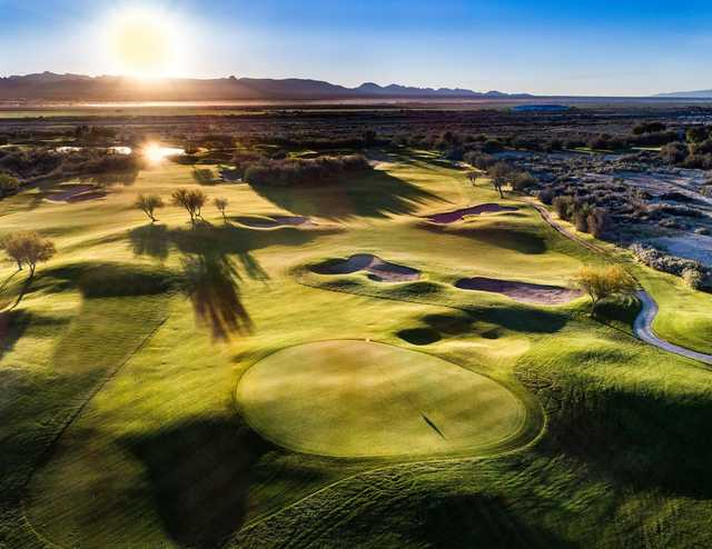 A view of the 3rd green at Mojave Resort Golf Club.
