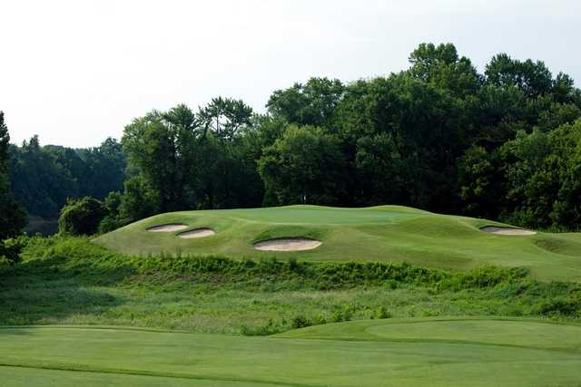 A view of a well protected hole at Gaylord Springs Golf Links.