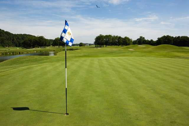 A sunny day view of a hole at Gaylord Springs Golf Links.