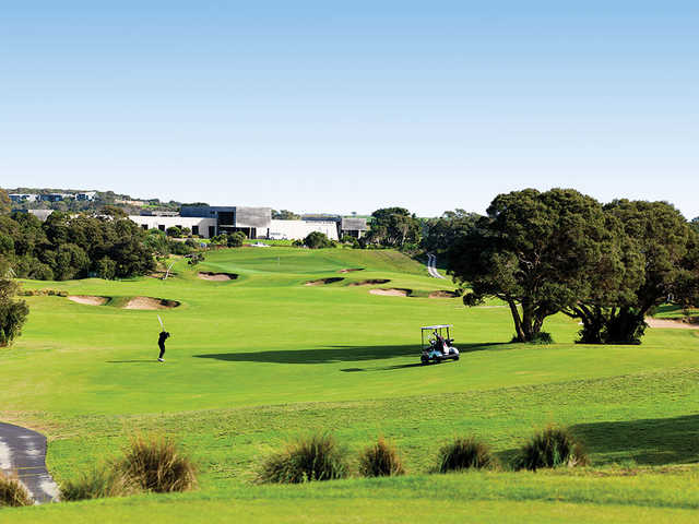 View of the 18th hole from The Legends Course at Moonah Links