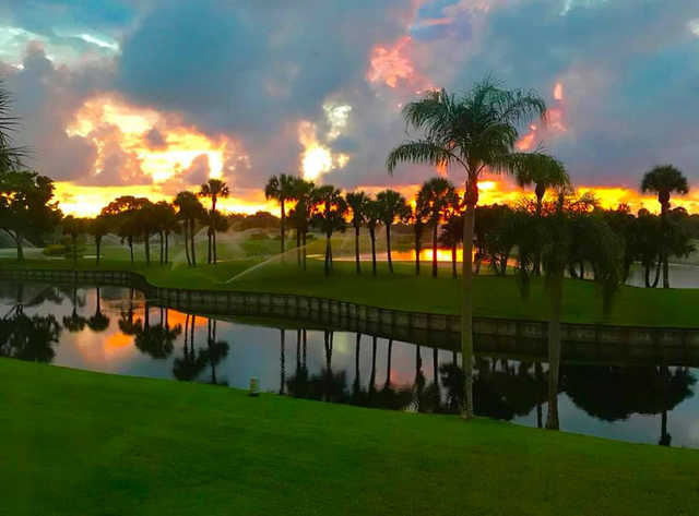 A sunset view from Hunters Run Golf Course.