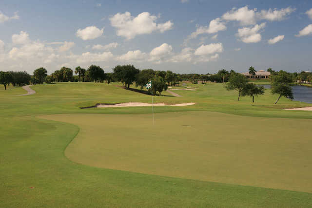 A view of a green with water on the right side at Abacoa Golf Club.