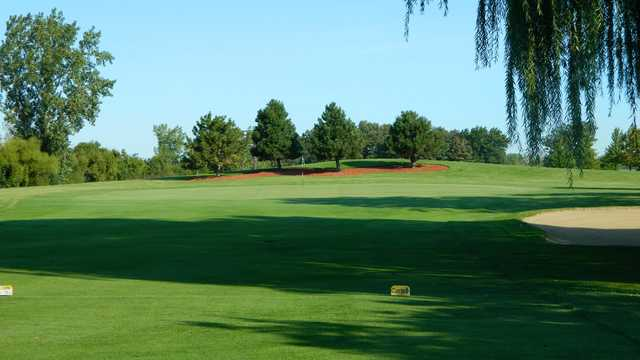 A sunny day view of a green at Foss Park Golf Course.