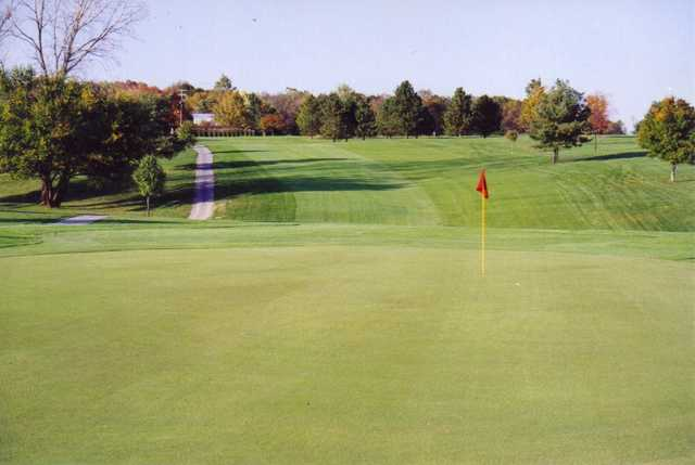 A view of green #1 at Blackhawk Golf Club