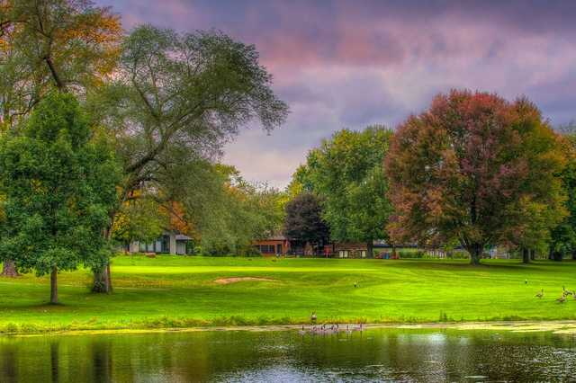 A view over the water of the 16th green at Beechwood Golf Course.