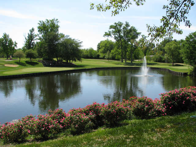 A sunny day view of a hole at Evansville Country Club.