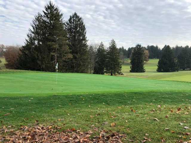 A late fall view of a green at Martinsville Golf Club.