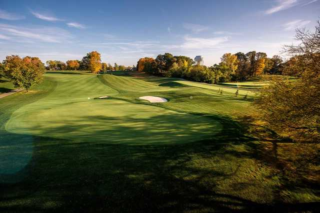 A fall day view of a green at Birck Boilermaker Golf Complex.