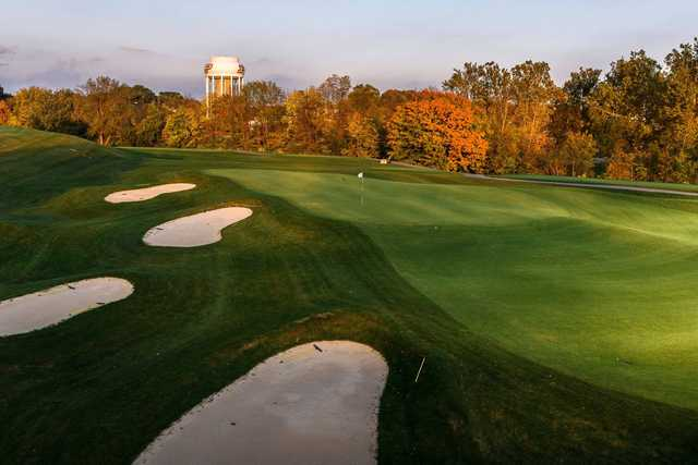 A fal day view of a green at Birck Boilermaker Golf Complex.