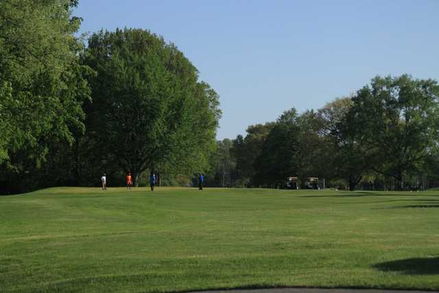 A sunny day view from Riverside Golf Course.