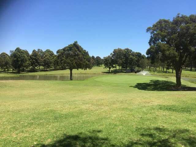 A view of a green with water coming into play at Woodville Golf Club.