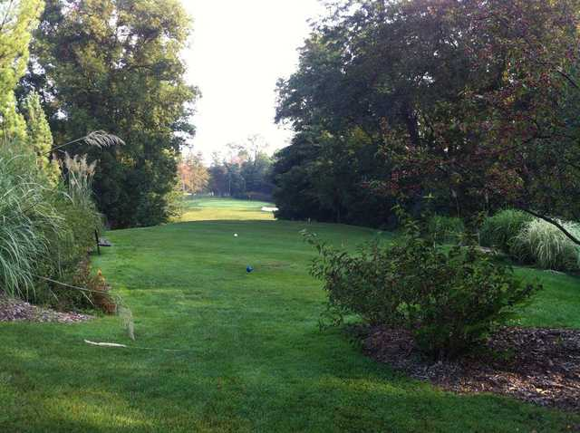 A view of a tee at Mill Course.