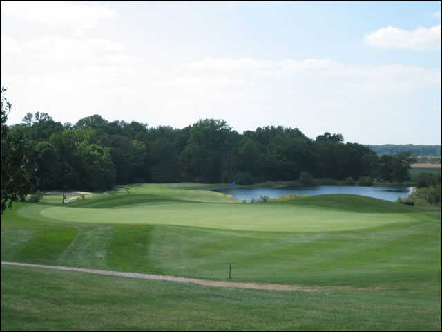 A view of the 5th green with water in background at Upper Lansdowne Golf Course