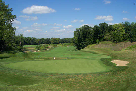 A view of hole #7 with bunker on the right at Cooks Creek Golf Club
